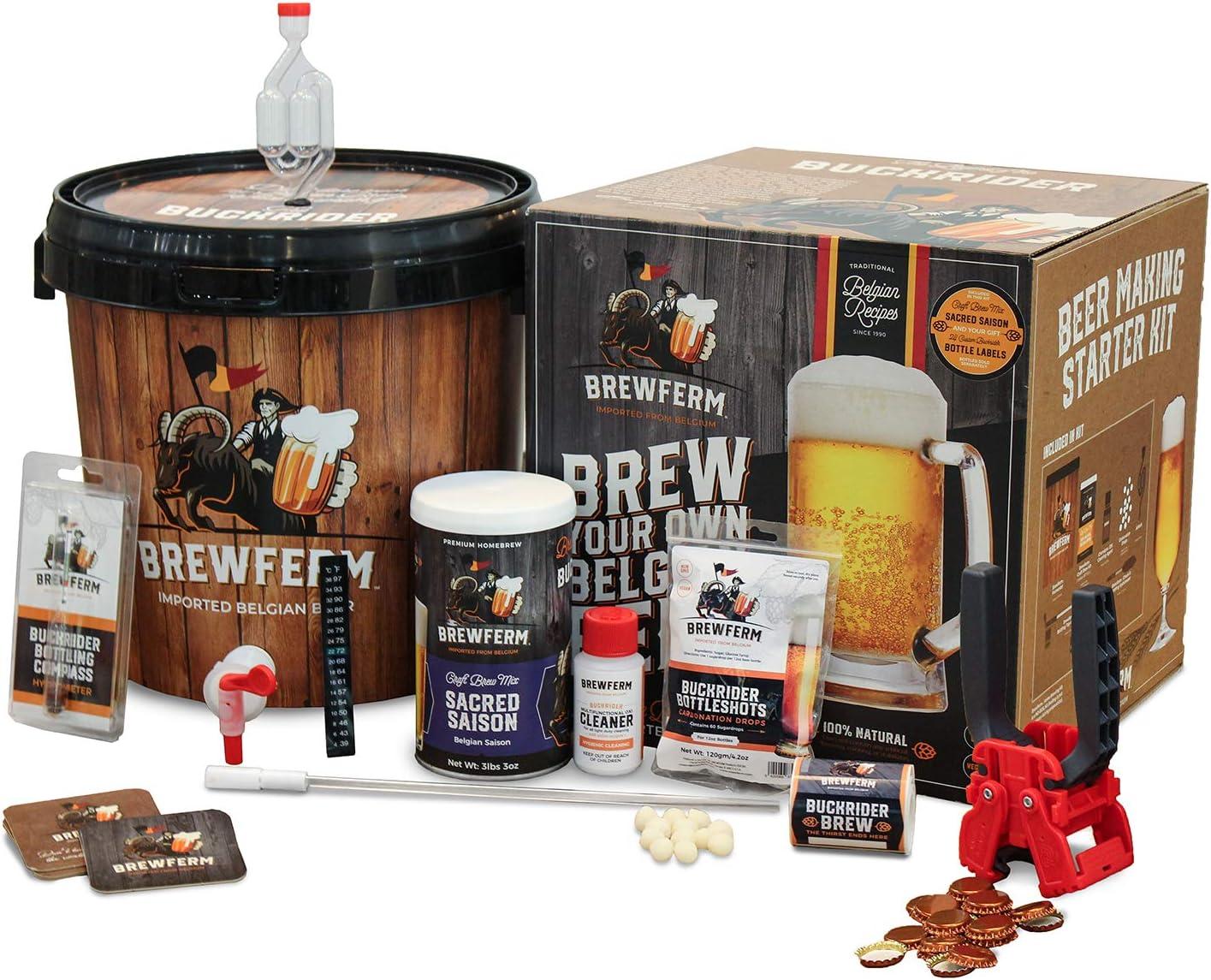 Brewferm Buckrider Belgian Homebrewing Premium Deluxe Brew Kit - Sacred Saison Premium Deluxe Craft Brew Mix - No Boil - Makes 15 Liters/ 4 gallons