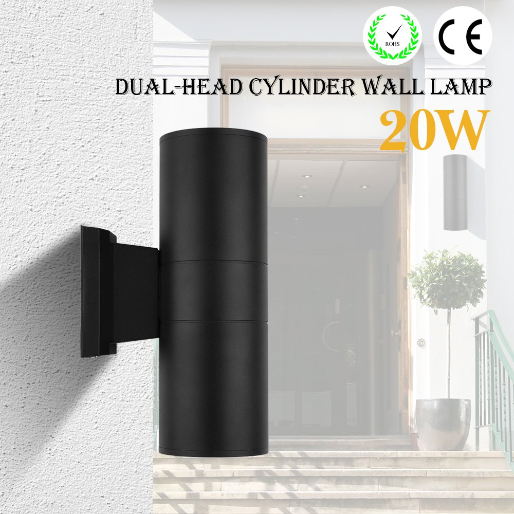Up Down Cylinder Outdoor Wall Light, 20W LED Wall Lamp Sconce Waterproof Porch Light Outdoor Lighting Fixture for Building Home Security and Walkways