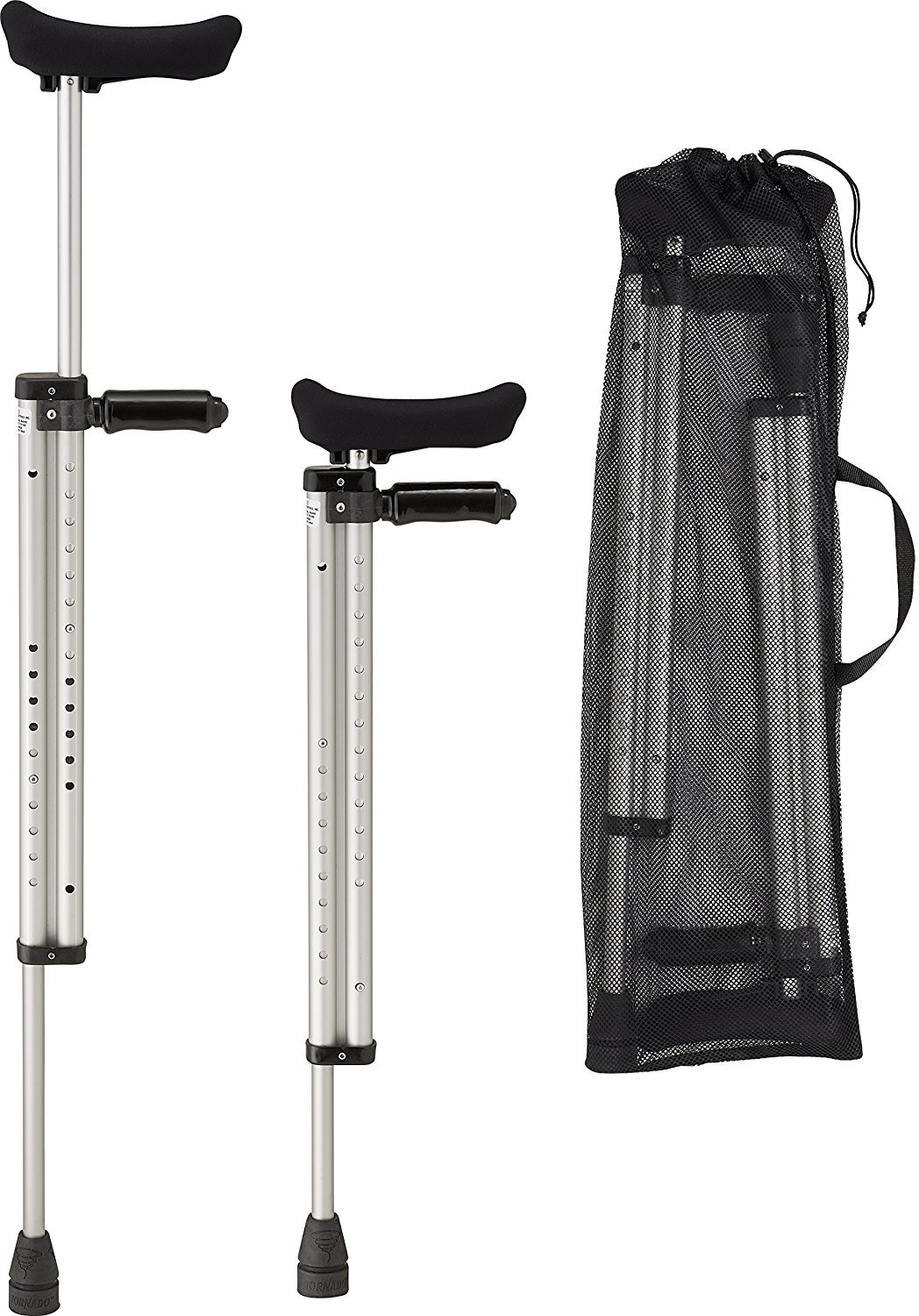 Thomas Fetterman Telescoping Travel Crutches with Poron Hand Grips, Slim Line Underarm Pads, Tornado Tips and Storage Bag, Reduces to 29 Inches, Supports up to 250 Pounds, Pair