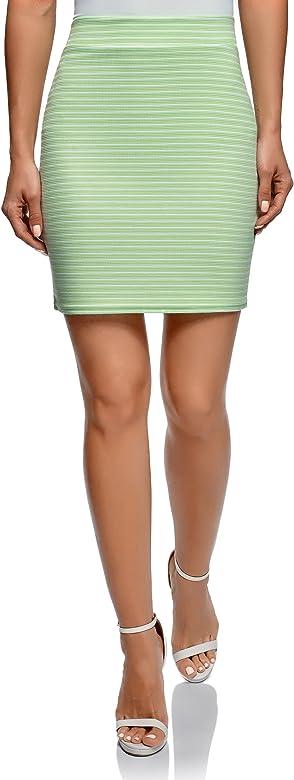 oodji Ultra Mujer Falda Básica de Punto, Verde, ES 34 / XXS ...