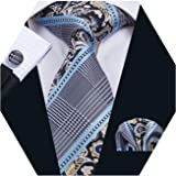 Barry.Wang Mens Plaid Check Silk Necktie Set Formal Tie Pocket Square Cufflinks Set