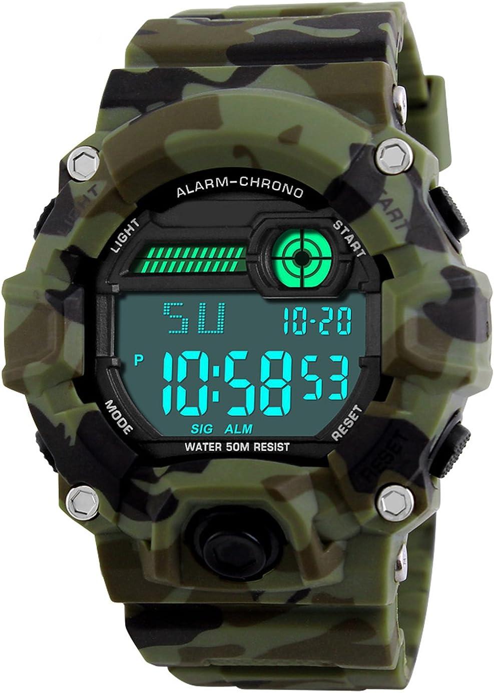 Niños de los Relojes Digitales, niños Deporte Militar Relojes con Alarma/Temporizador,Niños 5 Bares Resistente al Agua Camuflaje electrónica Relojes de Pulsera para niños Hombre