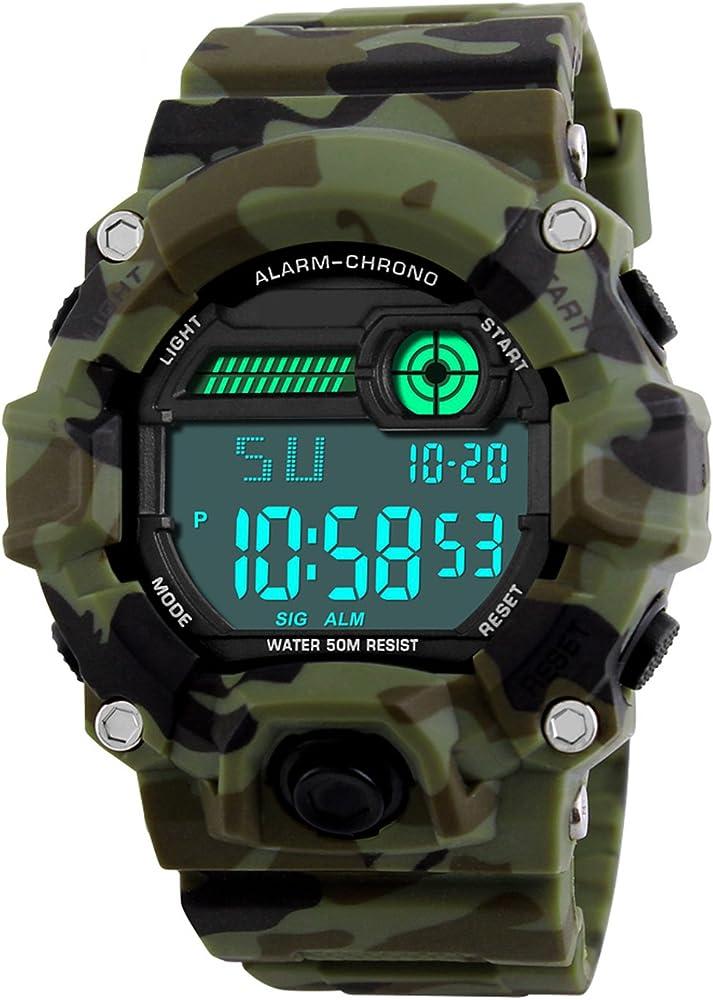 Niños de los Relojes Digitales, niños Deporte Militar Relojes con Alarma/Temporizador/Resistente a Golpes,Niños 5 Bares Resistente al Agua Camuflaje electrónica Relojes de Pulsera para niños Hombre: Amazon.es: Relojes