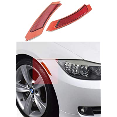 Haneex Crystal Clear/Smoke/Amber/Dark Grey/Red Lens Front Bumper Side Markers Reflector Light Fender Replacement for BMW 3 Series E90 / E91 LCI (Red Lens): Automotive