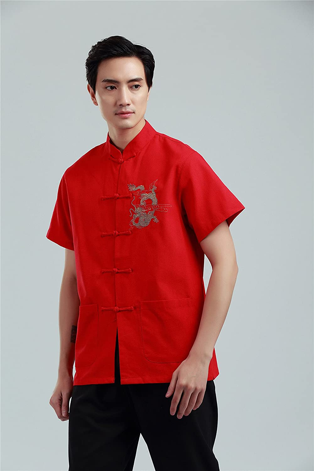 Shanghai Story Chinese Kung Fu Short Sleeve Shirt with Dragon Embroidery