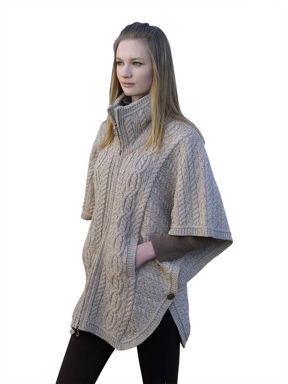 100% Irish Merino Wool Batwing Aran Knit Jacket, Parsnip, Medium-Large,Parsnip,Medium-Large