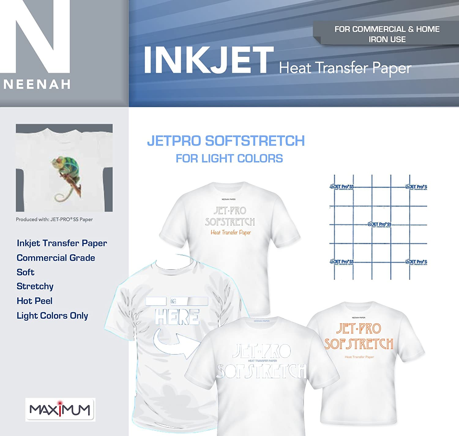 "SOFSTRETCH INKJET IRON ON HEAT TRANSFER PAPER NEENAH JET PRO SS 8.5 X 11/"" 50 PK"