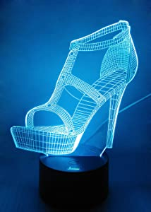 High Heel 3D Night Light LED Illusion Lamp, Loveboat 7 Color Changing Lights with Acrylic Flat and ABS Base and USB Charger as Home Decor