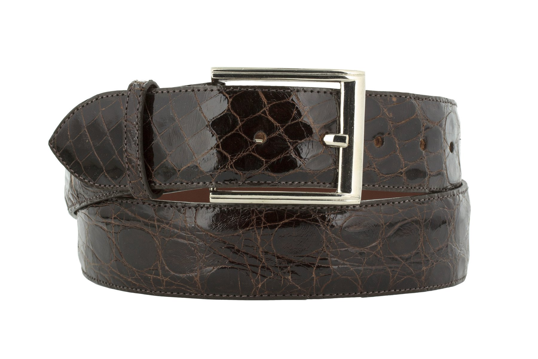 El Presidente - Men's Brown Genuine Crocodile Belly Skin Leather Dress Belt 40