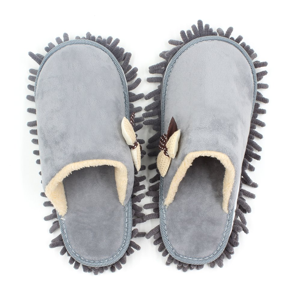 Kisstaker One pair Mop Cleaning Dusters House Slippers Shoes Cover Grey