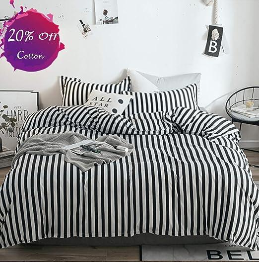 Amazon Com Karever Black White Striped Duvet Cover Set Queen Kids