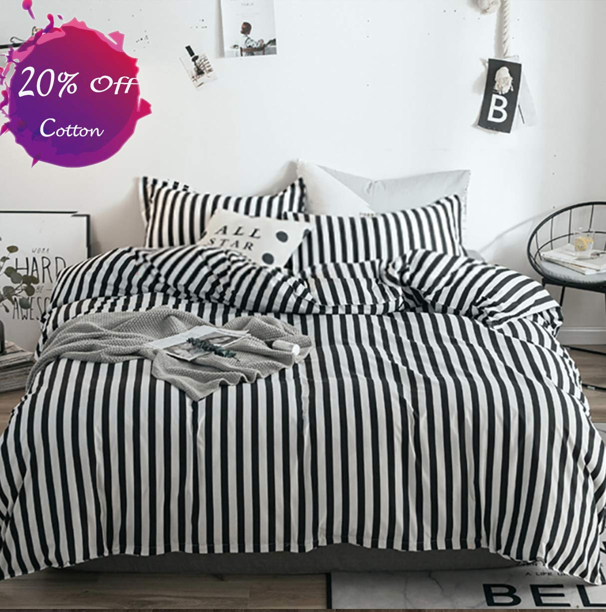 karever Black White Striped Duvet Cover Set Queen Kids Cotton Bedding Full Black Vertical Ticking Stripes Pattern Printed on White Comforter Cover Set for Boys Girls Teens
