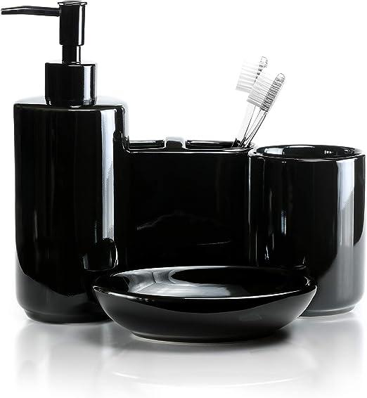 Big Apple Ceramic 4 PC BATHROOM SET Cup Soap Dish Dispenser Toothbrush Holder