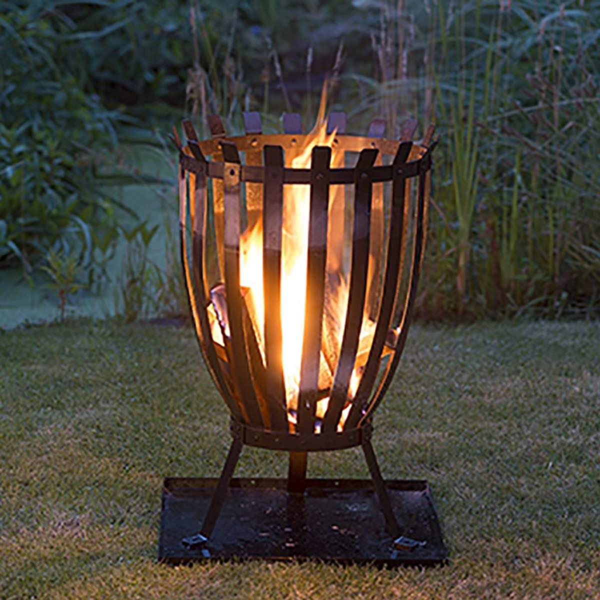 QHENS Cuencos de Fuego Vintage Tipo antorcha Negra de Acero Inoxidable para el jard/ín Estufa de le/ña con Aspecto de /óxido para calefacci/ón Interior y Exterior
