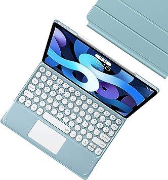 HaoHZ Funda con Teclado para iPad Air 10.9 2020 (4.A Generación), Funda con Fijación Magnética, (no Incluido Ñ) Teclado Inalámbrico Desmontable con ...
