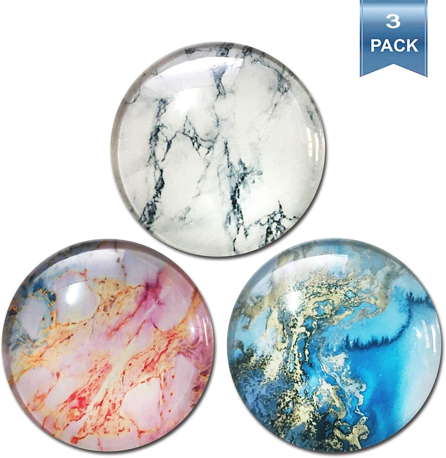 Refrigerator Magnets, Decorative Fridge Magnets, Calendar Cabinets Whiteboards Magnets for Office (3Pack Marble Magnets)