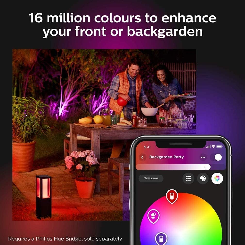 Works with Alexa Philips Hue Impress White and Colour Ambiance Led Smart Outdoor Pedestal Light Regular Google Assistant and Apple Homekit