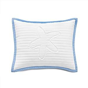 Nostalgia Home Seastar Sham, Standard, White/Blue