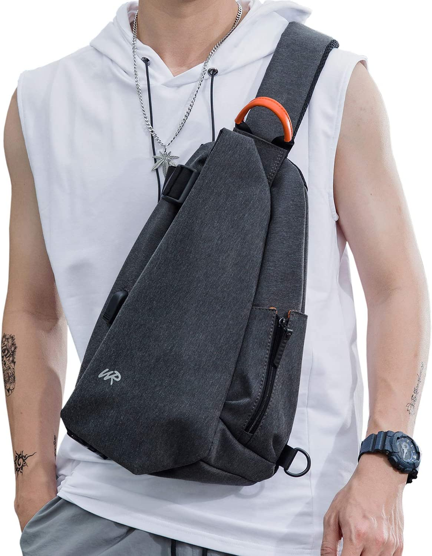 SZSYCN Sling Bags Crossbody Backpack for Men Women,Waterproof Sling Backpack One Strap Shoulder Chest Bag Multipurpose Daypacks with USB Charger Port for Hiking Walking Biking Travel Cycling