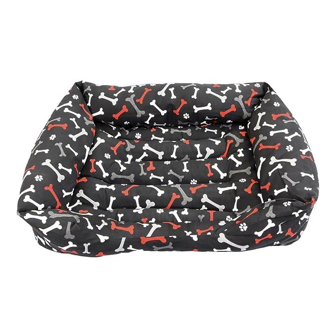 ¡OFERTA BLACK FRIDAY! Cama para perro y gato Huesos Rojos Negro 60*45cm.: Amazon.es: Hogar