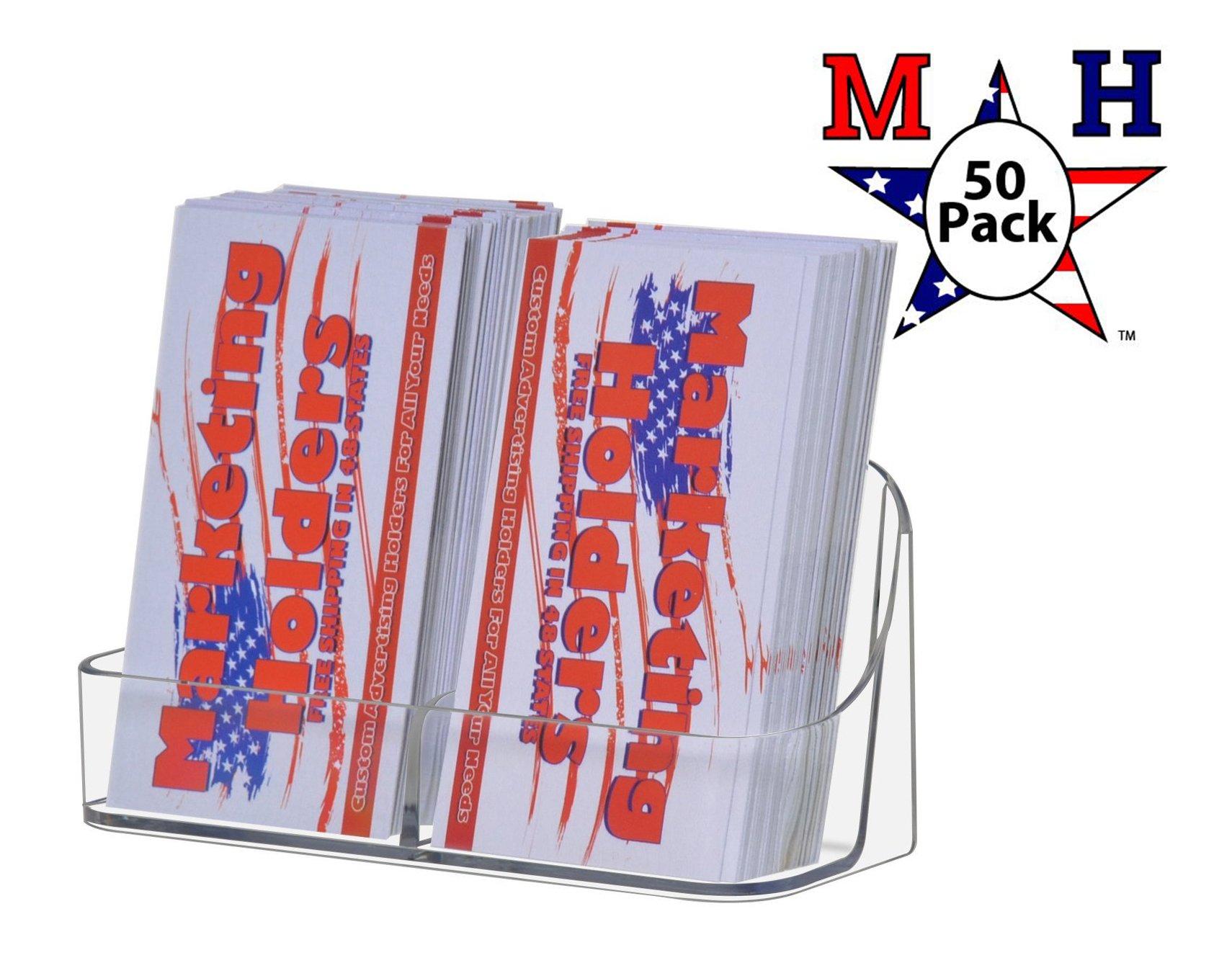 Deflect-o Single Tier 2 Pocket Portrait Business Card Holder - Transparent Clear Pack of 50