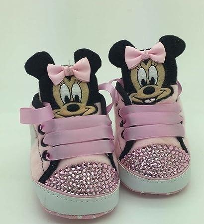 Personalizado Bebé niña Minnie Mouse para cuna cochecito de bebé cristal de Campanilla Bling Rhinestone zapatos
