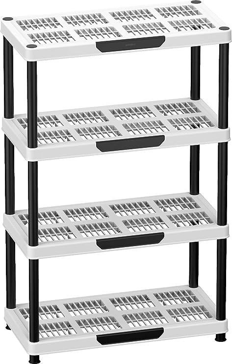 Duramax Shelving Estantería, 4 baldas Desmontables en Color Blanco y Negro