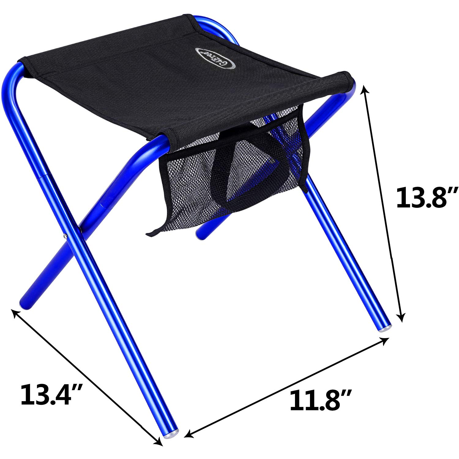 G4Free Folding Camping Stool with Mesh Storage Pouch (Large Size: 13.4''x11.8''x13.8''),Outdoor Slacker Chair for BBQ,Fishing,Travel,Hiking,Garden,Beach(Black+Blue)