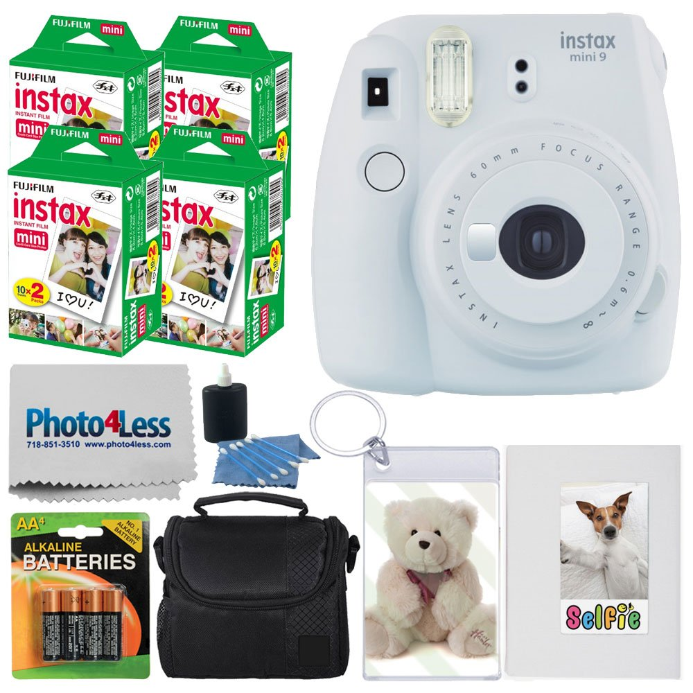 Fujifilm instax mini 9 Instant Film Camera (Smokey White) + Fujifilm Instax Mini Twin Pack Instant Film (80 Shots) + Photo Keychain + Selfie Album + 4 AA Batteries + Compact Case + Cleaning Cloth