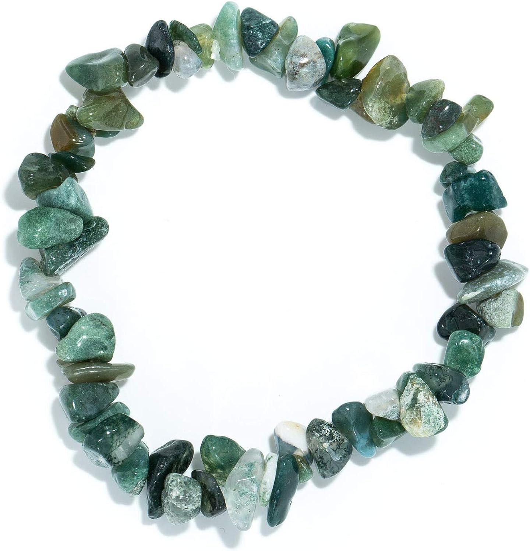 Taddart Minerals Pulsera de Piedras Preciosas Naturales de ágata de Musgo en Hilo de Nailon elástico Hecha a Mano.