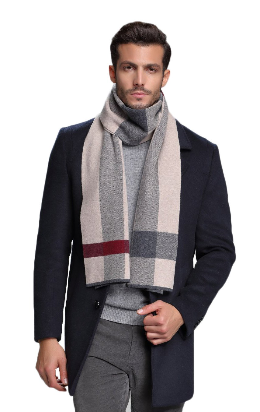 RIONA Men's Winter Cashmere Feel Australian Wool Soft Warm Knitted Scarf with Gift Box(Burgundy) RIW8048Burgundy