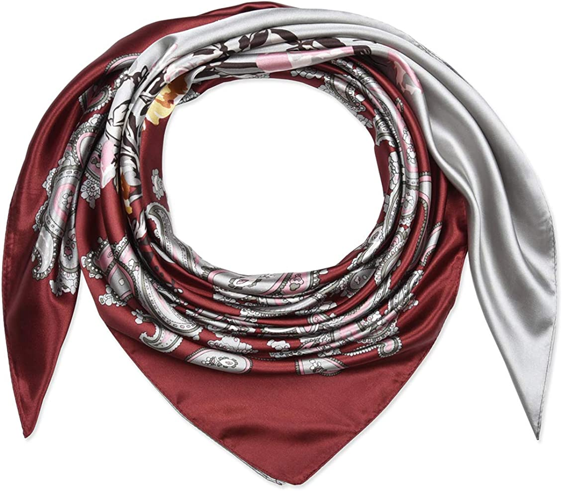 35 Ladies Satin Square Silk Like Hair Scarves and Wraps Headscarf for Sleeping