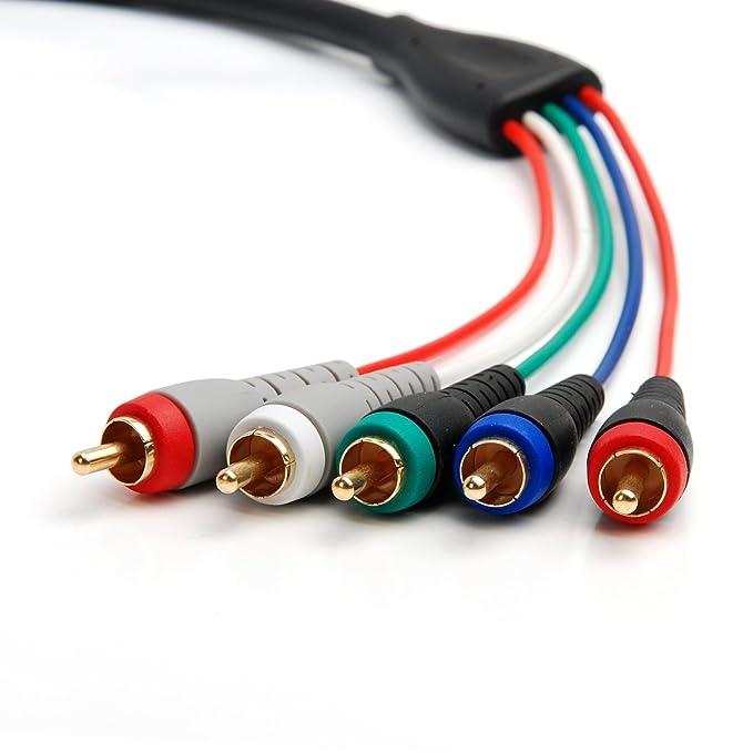 Cable Coaxial YPbPr BlueRigger 5-RCA Componente para Video y Audio (3.6M/12Ft) con contactos enchapados en Oro: Amazon.es: Electrónica