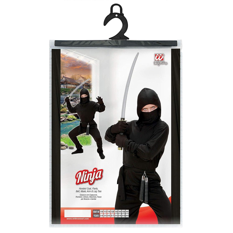 Widmann 02647 - Disfraz para niños con diseño Ninja, Negro, 140 cm