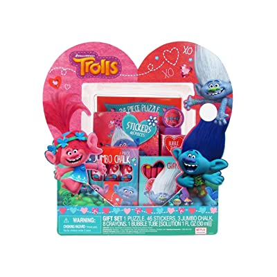 Megatoys Art Gift Set, Trolls, Chalk, Bubbles, Crayons, Stickers and Puzzle: Toys & Games