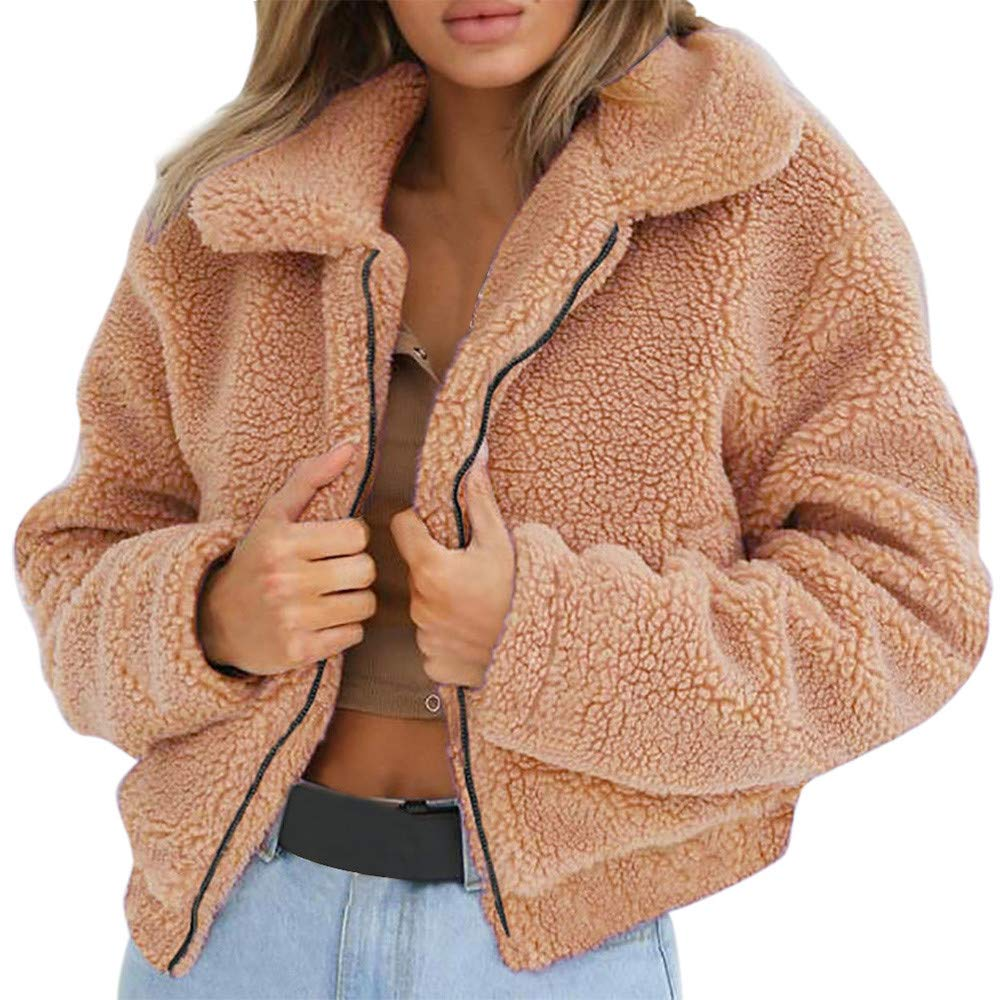 Rovinci_Ladies Warm Artificial Wool Lapel Short Coat Zipper Cool Jacket Winter Parka Outerwear Reversible Fluffy Faux Fur Winter Fleece Hooded Sherpa Jacket