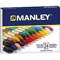 Ceras Manley 24 Unidades - Caja de Cera Profesional y Ceras para Niños - Ceras de Colores para Material Escolar…
