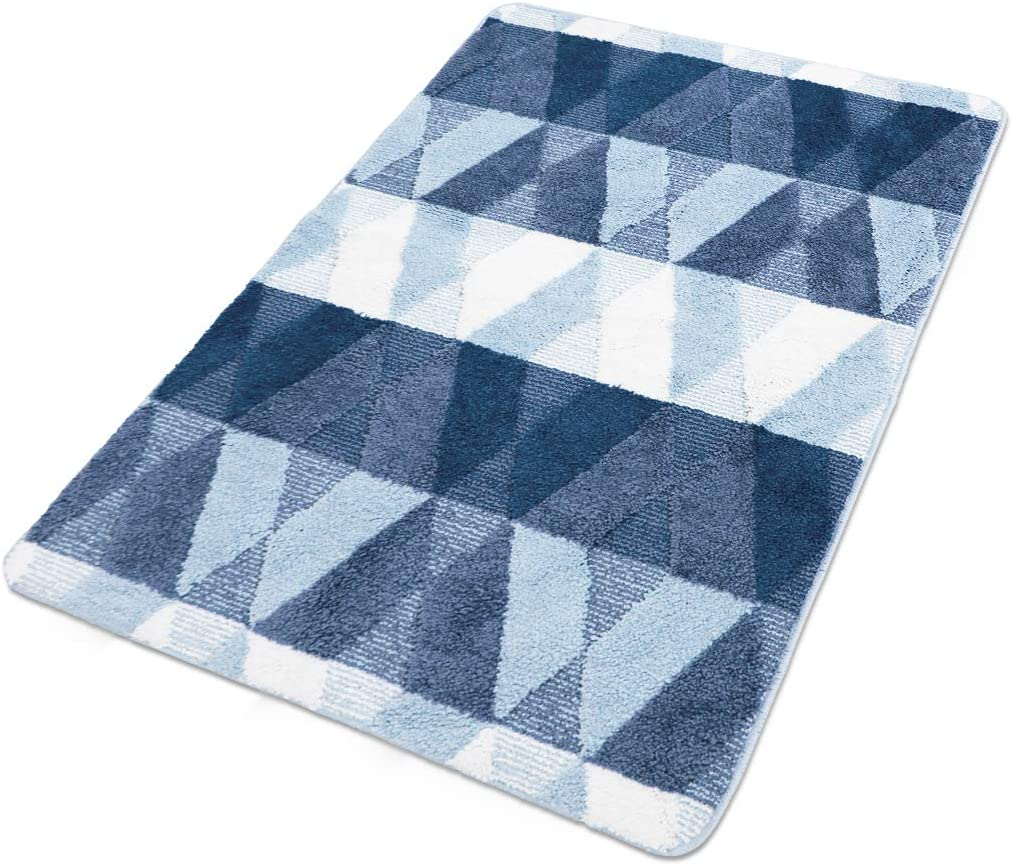 Front Door Rugs Shaggy Non-Slip Bath Rug Absorbent Floor Foot Mat Microfiber Striped Pad Shower Rug 32x47 inch Blue