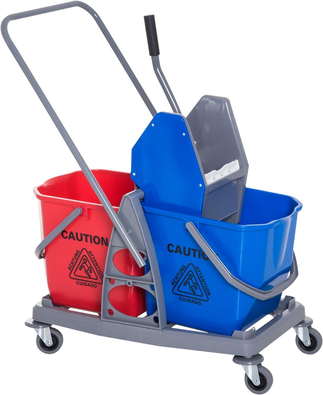 Chariot de lavage chariot de nettoyage professionnel presse à mâchoire 8  seaux 85 L 8L x 8l x 98H cm plastique gris bleu rouge