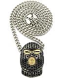 Collier de ton argent à pendentif de bandit masqué, avec pierres de Strass, chaîne Cuban l.5 mm L.61 cm