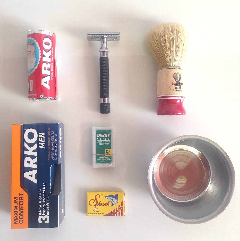 Set de afeitado con maquinilla, espuma para afeitar, crema para ...