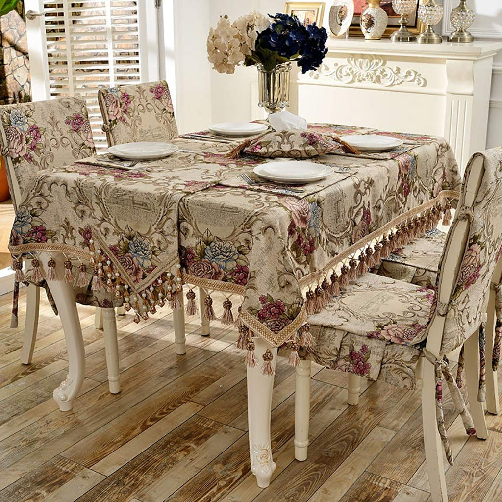 WENJUN Tablecloth, European-Style Table-Cloth Chair Covers Cushions Set,Thickened Cloth Lace Table Cloth Dining Chair Covers Home Decoration,Blue,Beige (Color : Beige 6 seat Cover, Size : 9090cm)