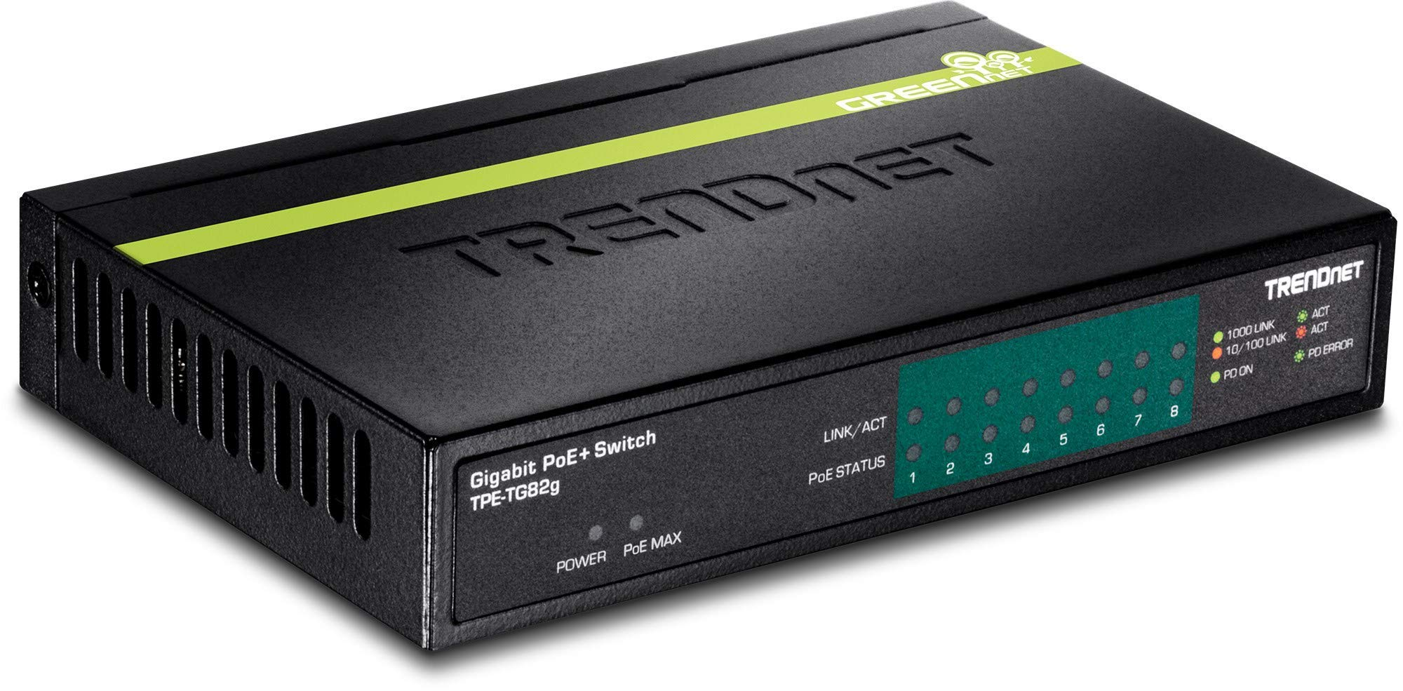 TRENDnet 8-Port GREENnet Gigabit PoE+ Switch, TPE-TG82G, Supports PoE and PoE+ Devices, 61W PoE Budget, 16Gbps Switching Capacity, Data & Power via Ethernet to PoE Access Points & IP Cameras by TRENDnet