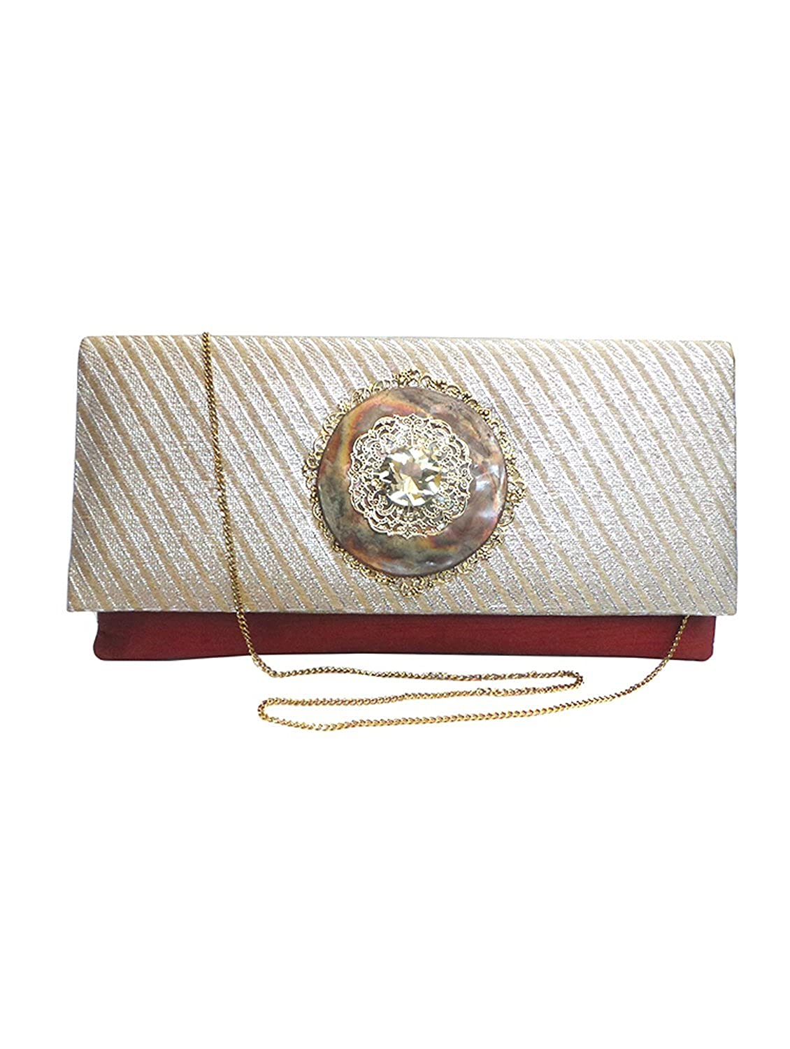 Bhamini Duo Clutch with Antique Copper Brooch