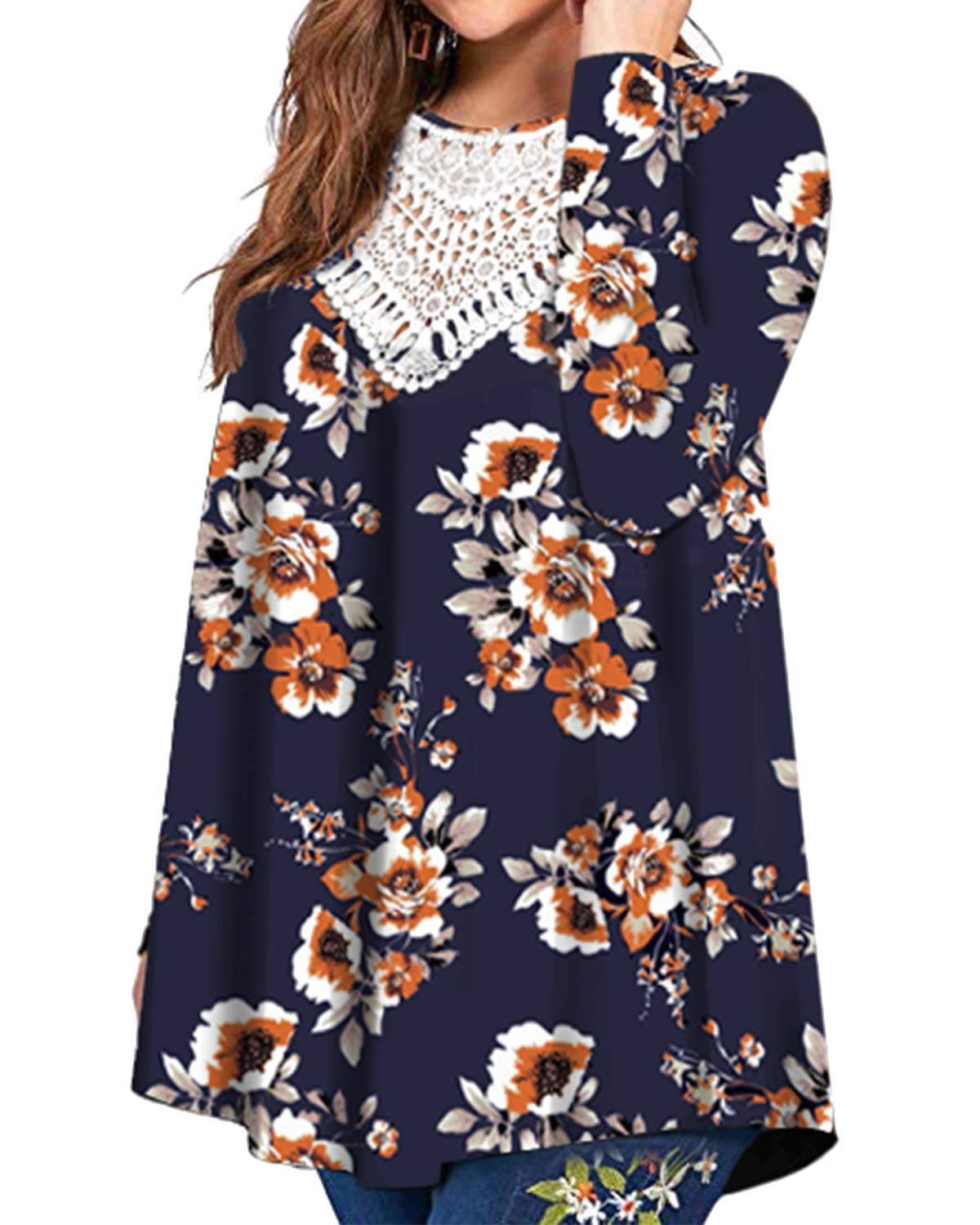 Promaska Lace Shirts for Women Plus Size, Ladies Hollow Out V Neck Long Sleeve Flowy Tops Keyhole Back Floral Print Tunics Swing Fall Clothes Blue 4XL