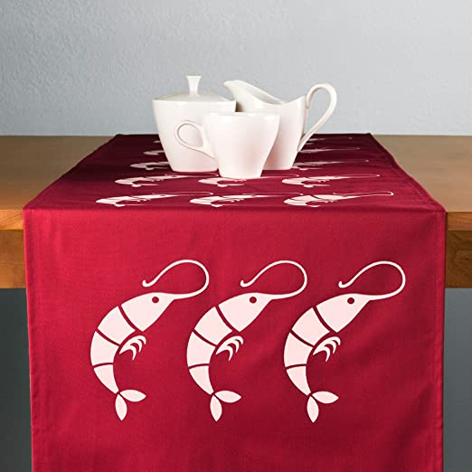 Christmas Tablescape Decor - Rock shrimp modern eco friendly red fabric table runner by Wabisabi Green