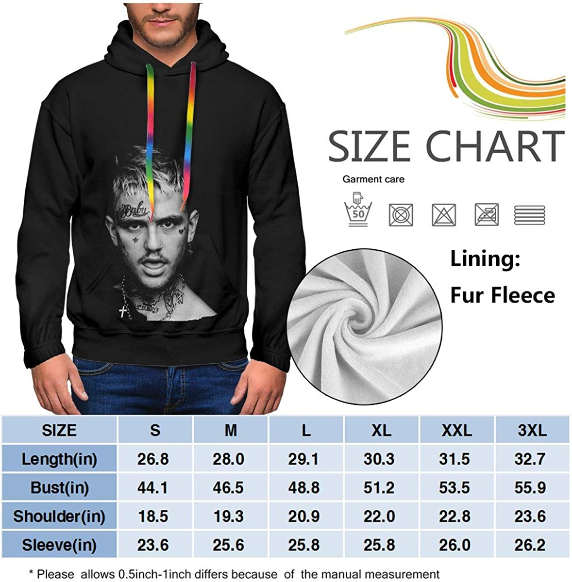 Lil Peep Mens Winter Jacket Clothes Plus Velvet Long Sleeve Hooded Sweat Shirt Pullover