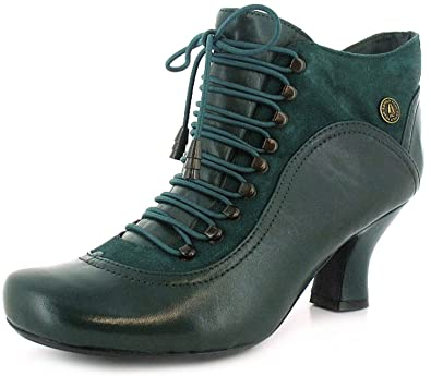 ever popular genuine shoes good selling New Ladies/Womens Green Leather Hush Puppies Victorian Styled Boots - Green  Leather - UK SIZES 3-11