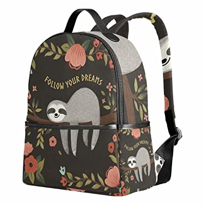 "Sloth School Backpack for Girls Elementary 12.6""x 5"" x 14.8"" for Kids Boys 