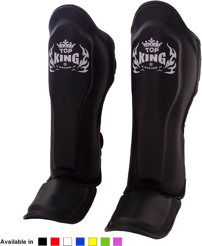 Black White Red Blue Green Pink Size KINGTOP Top King Muay Thai Shin Pads TKSGP GL Shin Guards Pro Genuine Leather S M L XL Shin Protection for Muay Thai Kick Boxing MMA K1